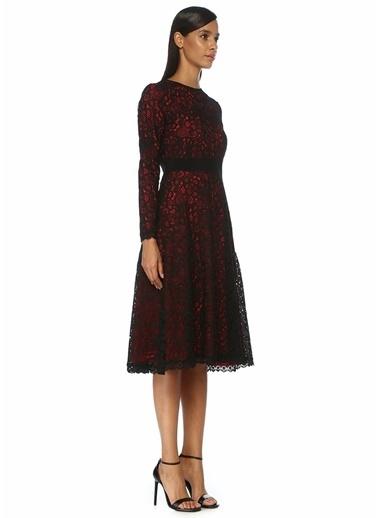 Beymen Collection Siyah Uzun Kol Midi Güpür Dantel Elbise Siyah